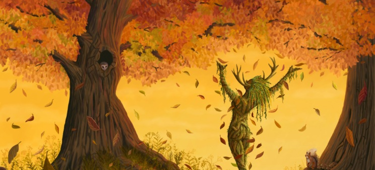"""On the edge of the sylvan woodland a dryad calls down the autumn leaves. My homage to the beautiful colours of autumn and dedicated to the memory of """"The Emporer"""", Britain's largest stag taken down during the rutting season by a poacher. Painted entirely in Corel Painter using one acrylic brush and one blender. The full resolution image is 2700 x 1950 pixels and high quality prints are available."""